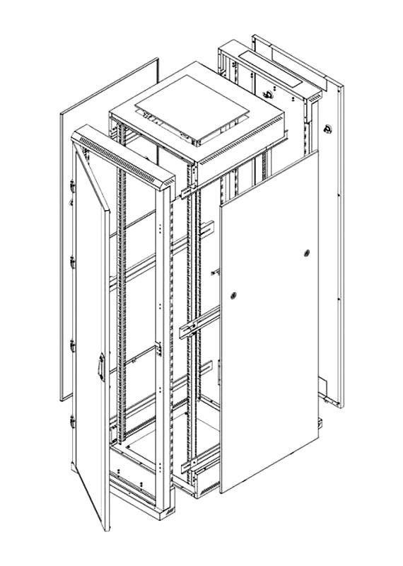 Triton Szafa rack 19 stojąca demontowalna RZA-18-A86-CAX-A1 (18U 800x600mm przeszklone drzwi kolor jasnoszary RAL7035)