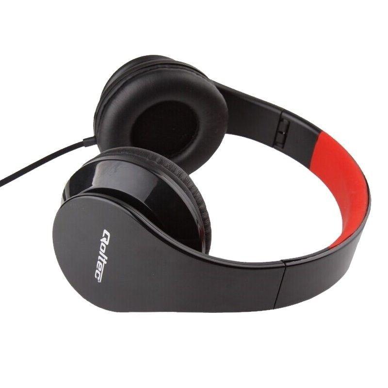 Qoltec Słuchawki nauszne + mikrofon | Czarno-czerwone