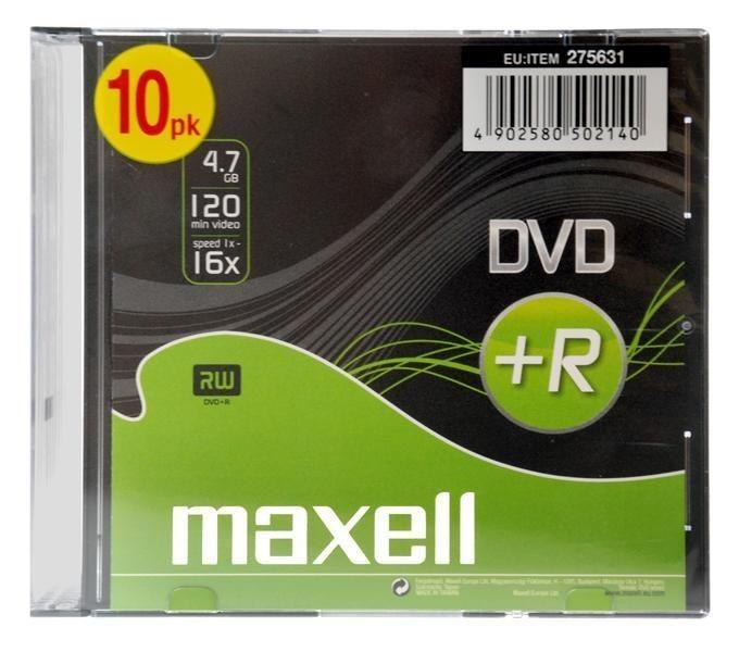 Maxell DVD+R 4,7 GB 16x SLIM 10 PACK