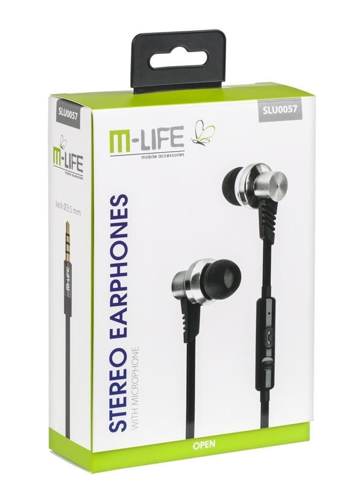 M-LIFE Słuchawki metalowe douszne Jack 3,5 z mikrofonem iphone/samsung
