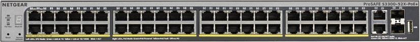 Netgear S3300 52PT STACKABLE SMART PoE W/10G 2 x SFP+, 2 x 10GBase-T (GS752TXP)