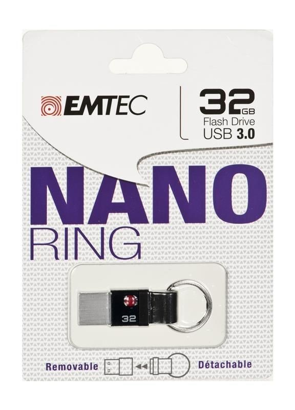 Emtec Flashdrive NANO RING T100 32GB USB 3.0 Czarny