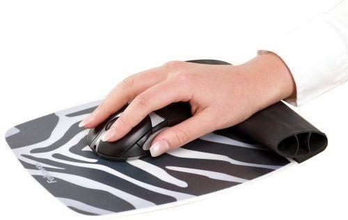 Fellowes - podkładka pod mysz i nadgarstek, silikonowa, Zebra
