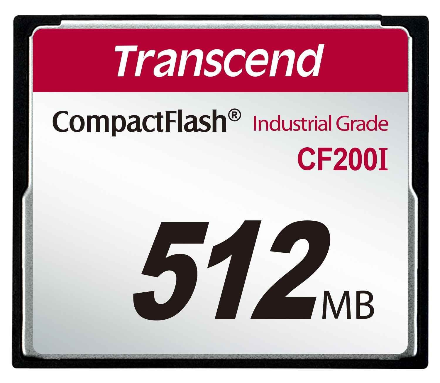 Transcend Industrial Compact Flash Card CF200I 512MB, SLC (UDMA5)