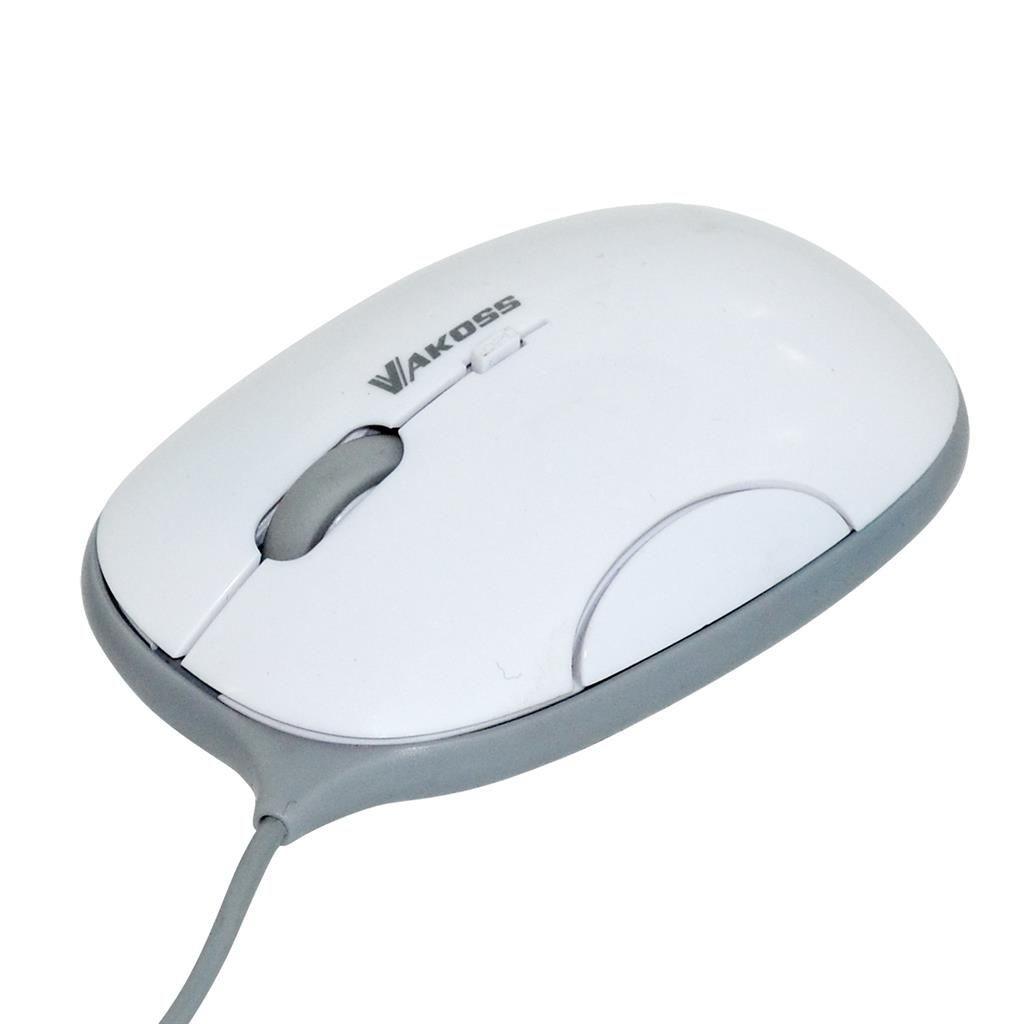 Vakoss Przewodowa Mysz Optyczna TM-426WA USB, 4D, 1600dpi, biało-szara, blister