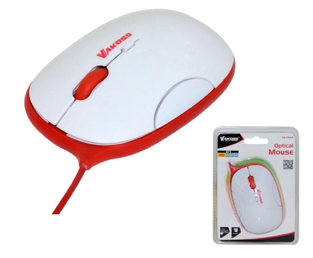 Vakoss Przewodowa Mysz Optyczna TM-426WR, 4D, 1600dpi, biało-czerwona, blister