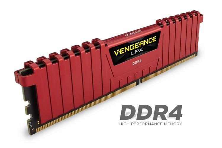 Corsair Vengeance LPX 4x4GB 2133MHz DDR4 CL13 1.2V, DIMM, XMP 2.0, Czerwona
