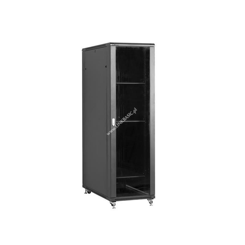 Linkbasic szafa stojąca rack 19'' 37U 800x1000mm czarna (drzwi przednie szklane)