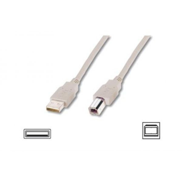 Assmann Kabel USB2,0 A m / B m dł.5,0m beżowy UL