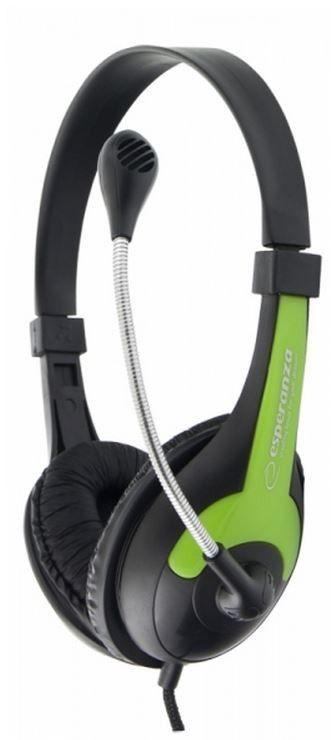 Esperanza Słuchawki Stereo z Mikrofonem i Regulacją Głośności EH158G