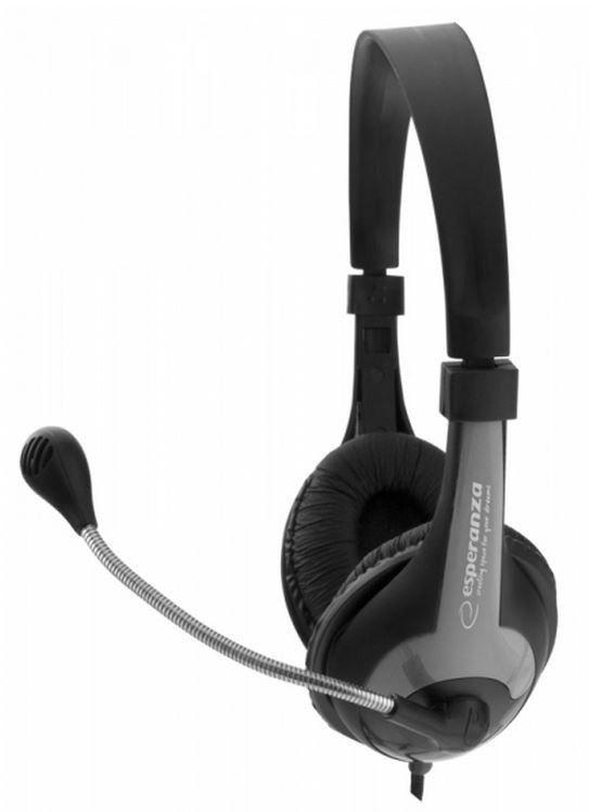 Esperanza Słuchawki Stereo z Mikrofonem i Regulacją Głośności EH158K