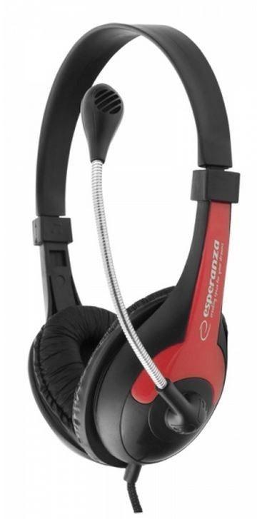 Esperanza Słuchawki Stereo z Mikrofonem i Regulacją Głośności EH158R