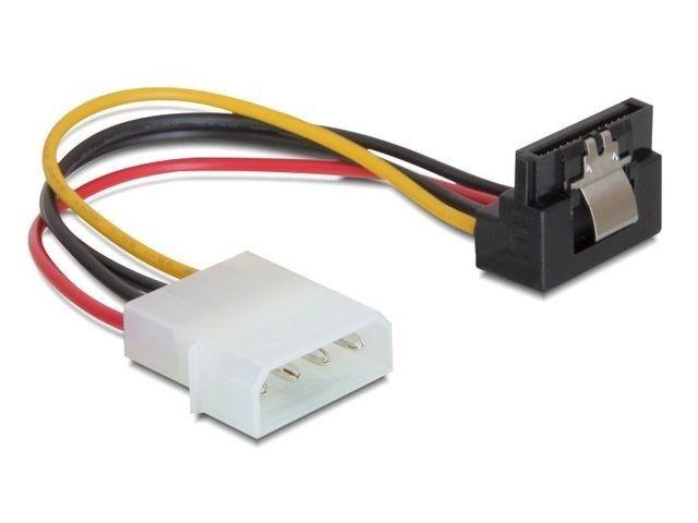 DeLOCK kabel SATA zasilający MOLEX (M)->SATA (F) metalowy zatrzask, kątowy, 15cm