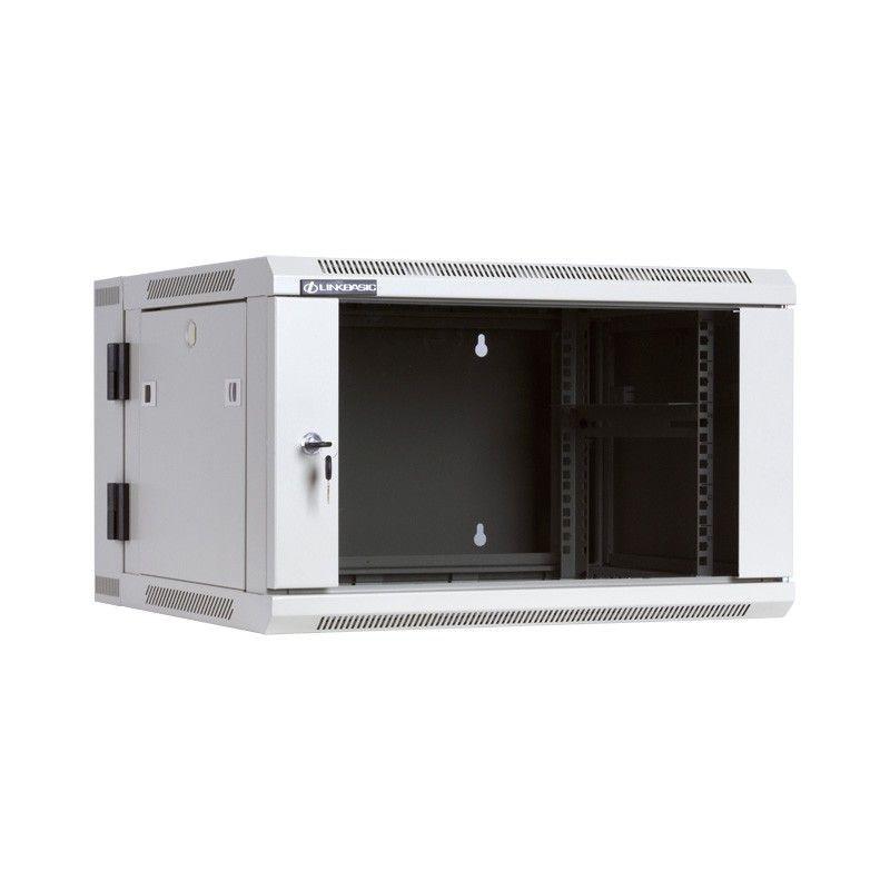 Linkbasic szafa wisząca dwusekcyjna rack 19'' 6U 600x550mm szara (drzwi szklane)