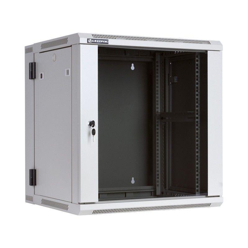 Linkbasic szafa wisząca dwusekcyjna rack 19'' 12U600x550mm szara (drzwi szklane)