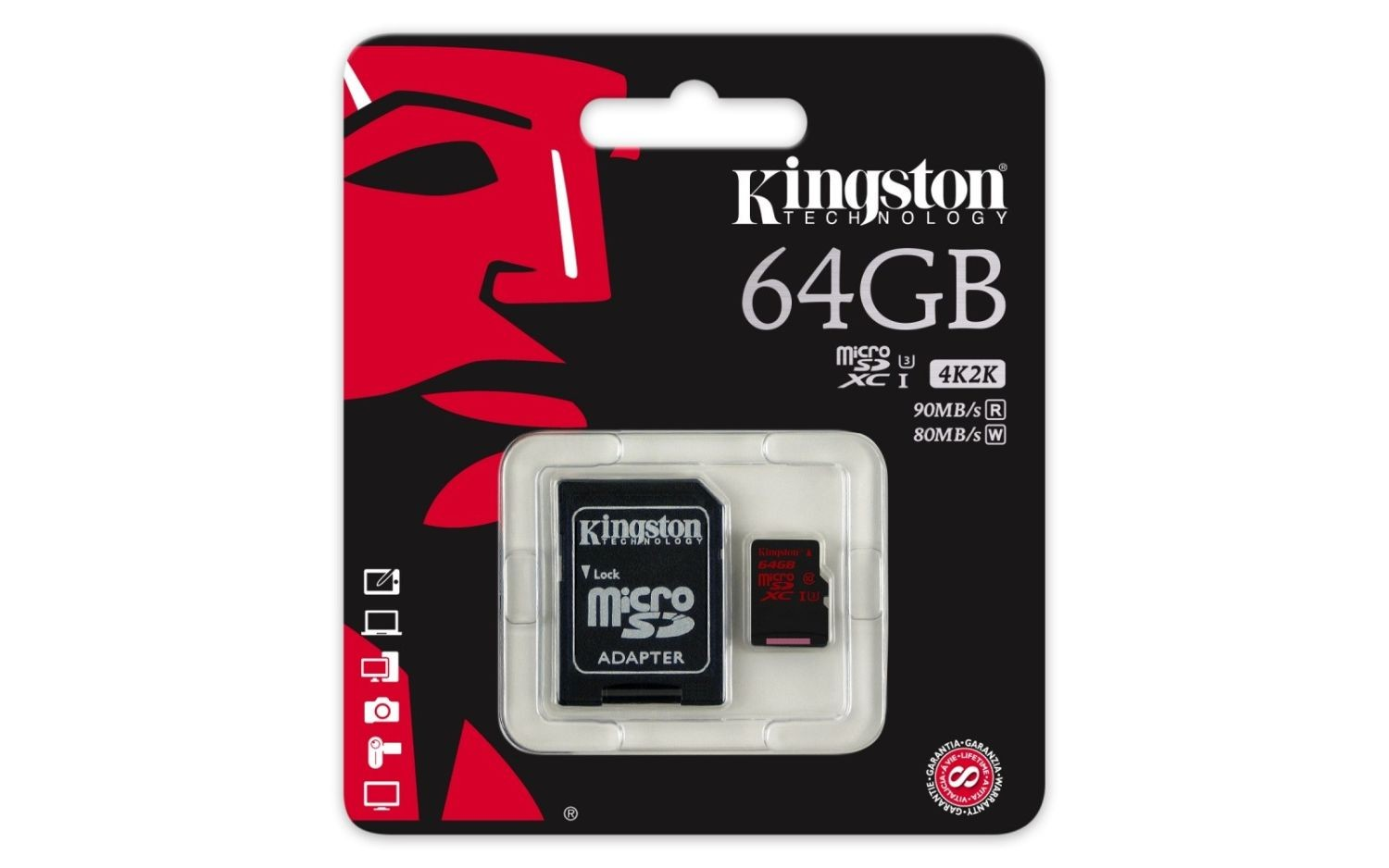 Kingston karta pamięci microSDXC 64GB UHS-I U3 (read/write;90/80MB/s) + Adapter