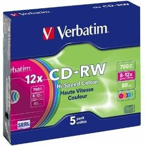 Verbatim CD-RW 700MB 12x Colour (slim jewel, 5szt)