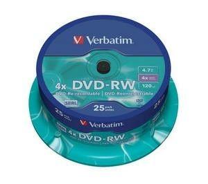 Verbatim DVD-RW 4,7GB 4x (szpindel, 25szt)