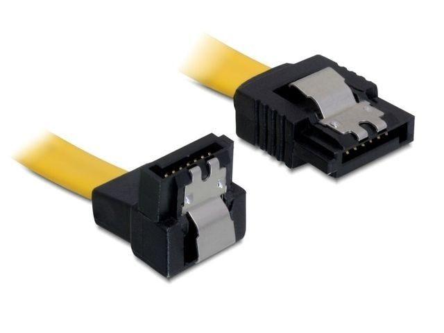 DeLOCK kabel do dysków serial ata III data 50cm zatrzaski metalowe, kątowy,żółty