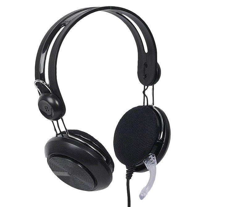 4World Słuchawki z mikrofonem, czarne