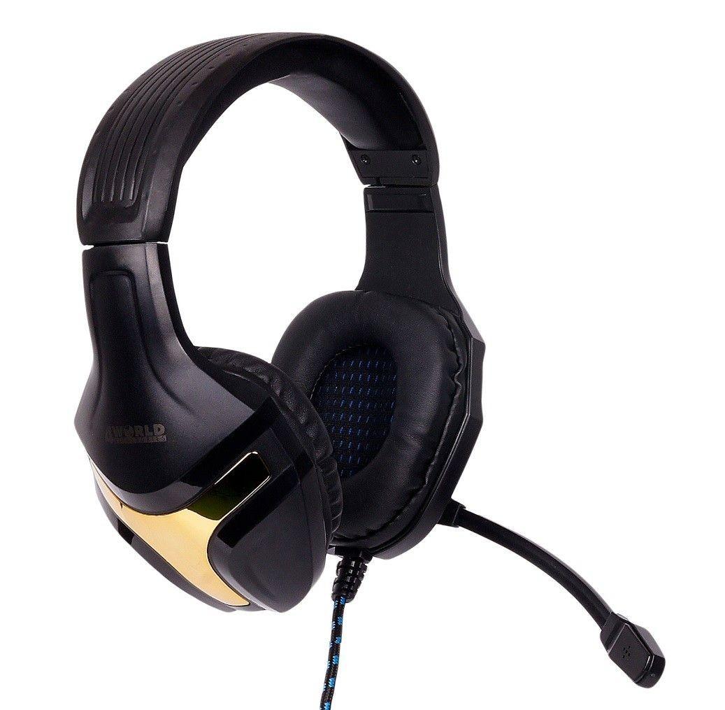 4World Słuchawki Gaming czarno-złote, z mikrofonem, kabel oplocie 2,2m