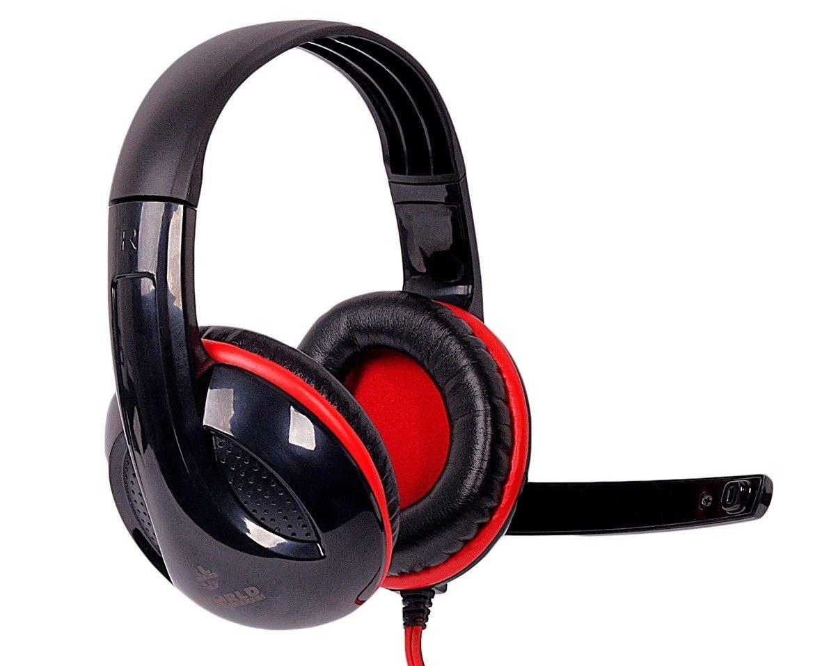 4World Słuchawki z mikrofonem, czarno-czerwone