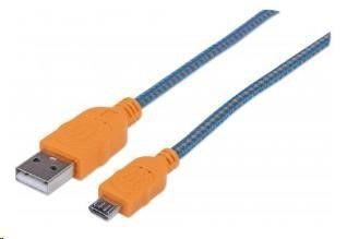 Manhattan Kabel USB 2.0 A-Micro B propojovací 1,8m, opletený (modrá/oranžová)