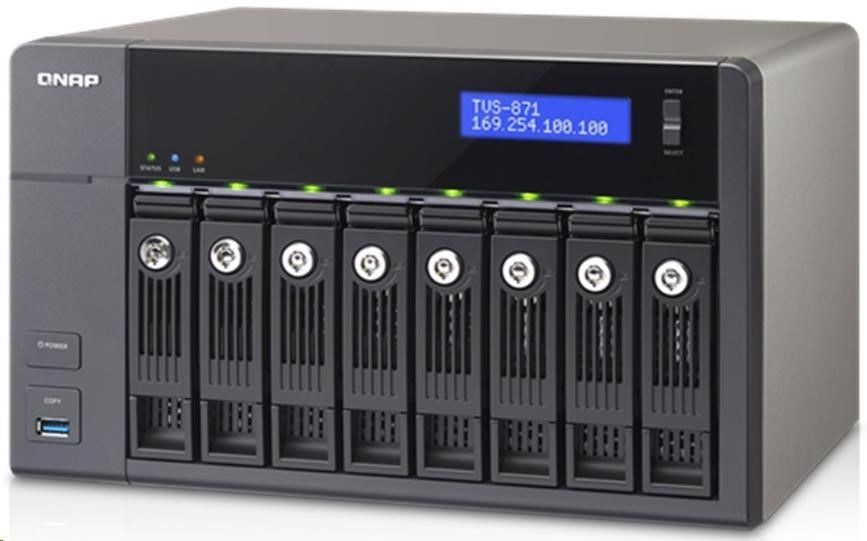 QNAP 8-Bay NAS, 4GB DDR3L RAM (max 8GB), SATA 6Gb/s, 2 Giga LAN, Read 224MB/s, Write