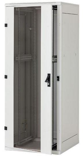 Triton Szafa rack 19 stojąca RMA-27-A66-CAX-A1 (27U 600x600mm trzypunktowe zawiasy przeszklone drzwi kolor jasnoszary RAL7035)