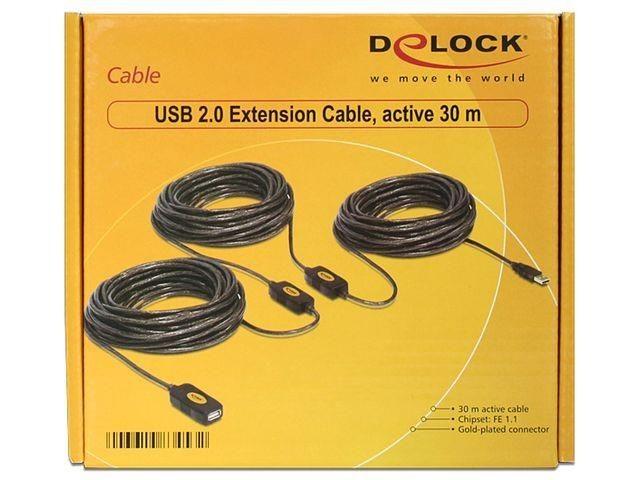 DeLOCK Przedłużacz USB 2.0 aktywny 30M czarny (AM-AF)