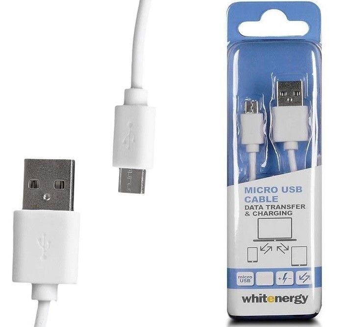 Whitenergy Kabel do przesyłu danych, wtyczka USB 2.0 na micro USB 100cm biały