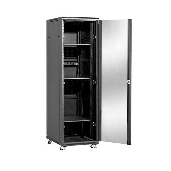 Linkbasic szafa stojąca rack 19'' 47U 600x800mm czarna (drzwi przednie szklane)