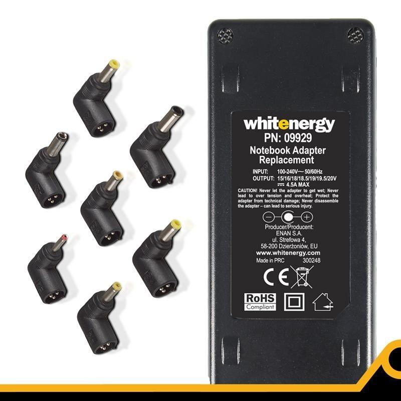 Whitenergy uniwersalny zasilacz sieciowy do Netbooków 90W 7 końcówek