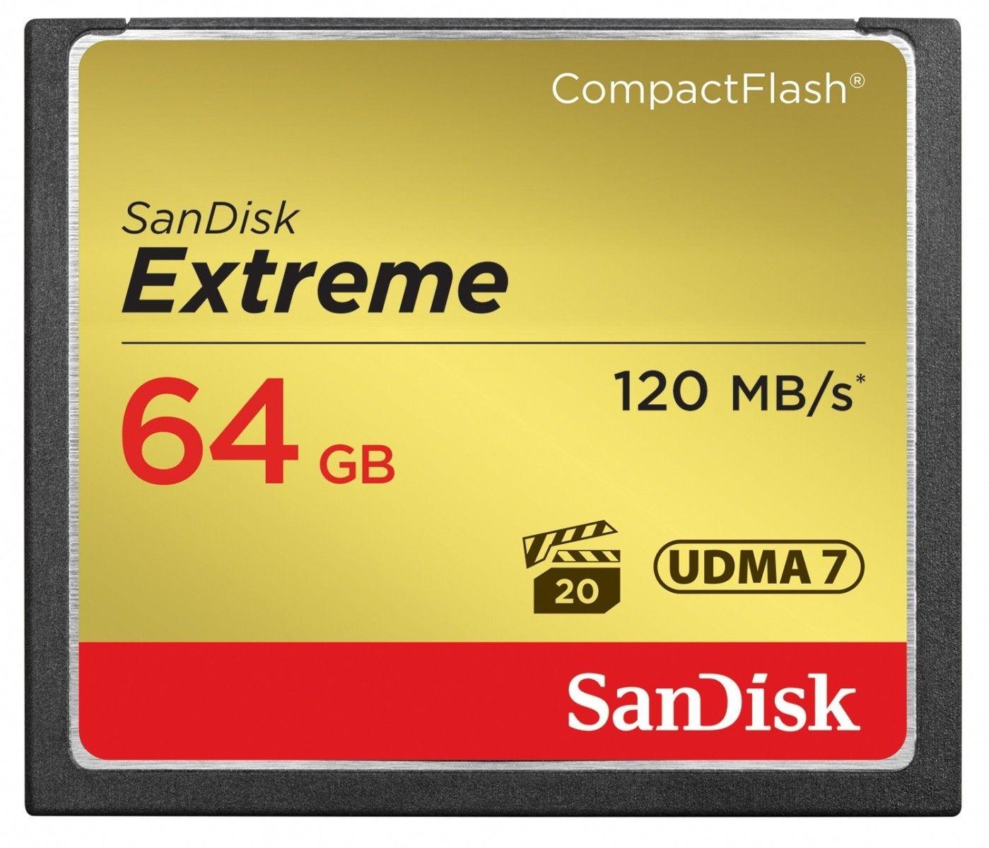 SanDisk Karta Compact Flash Extreme 64GB UDMA7 (transfer 120MB/s)