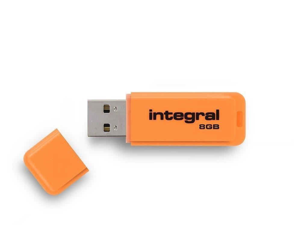 Integral pamięć USB Neon 8GB USB 2.0 - kolor pomarańczowy