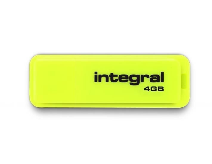 Integral pamięć USB Neon 4GB USB 2.0 kolor żółty