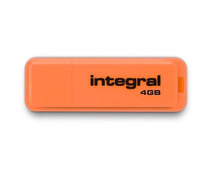 Integral pamięć USB Neon 4GB USB 2.0 kolor pomarańczowy