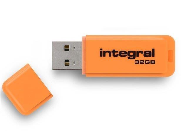 Integral pamięć USB Neon 32GB USB 2.0 - kolor pomarańczowy