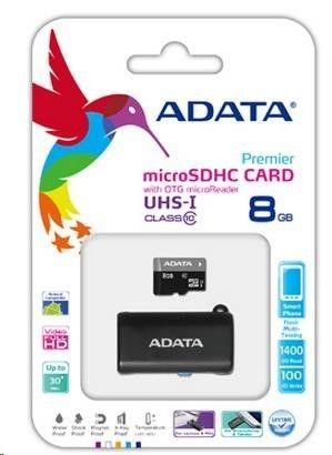 A-Data Karta pamięci microSD/microSDHC 8 GB Czytnik USB