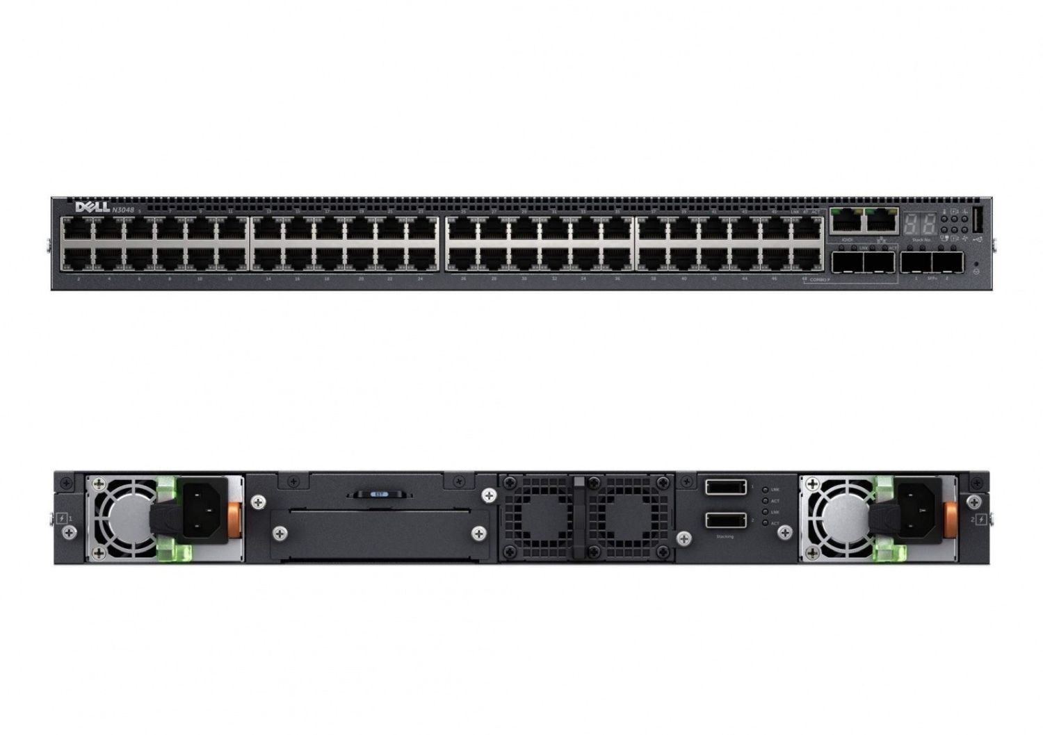 Dell Switch N2048P PoE+, 48x1GbE, 2x 10GbE SFP+ Ports, Stacking, 1x AC PSU
