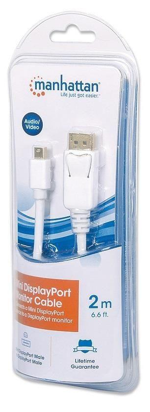 Manhattan Kabel monitorowy Mini DisplayPort/DisplayPort, M/M, biały, 2m, blister