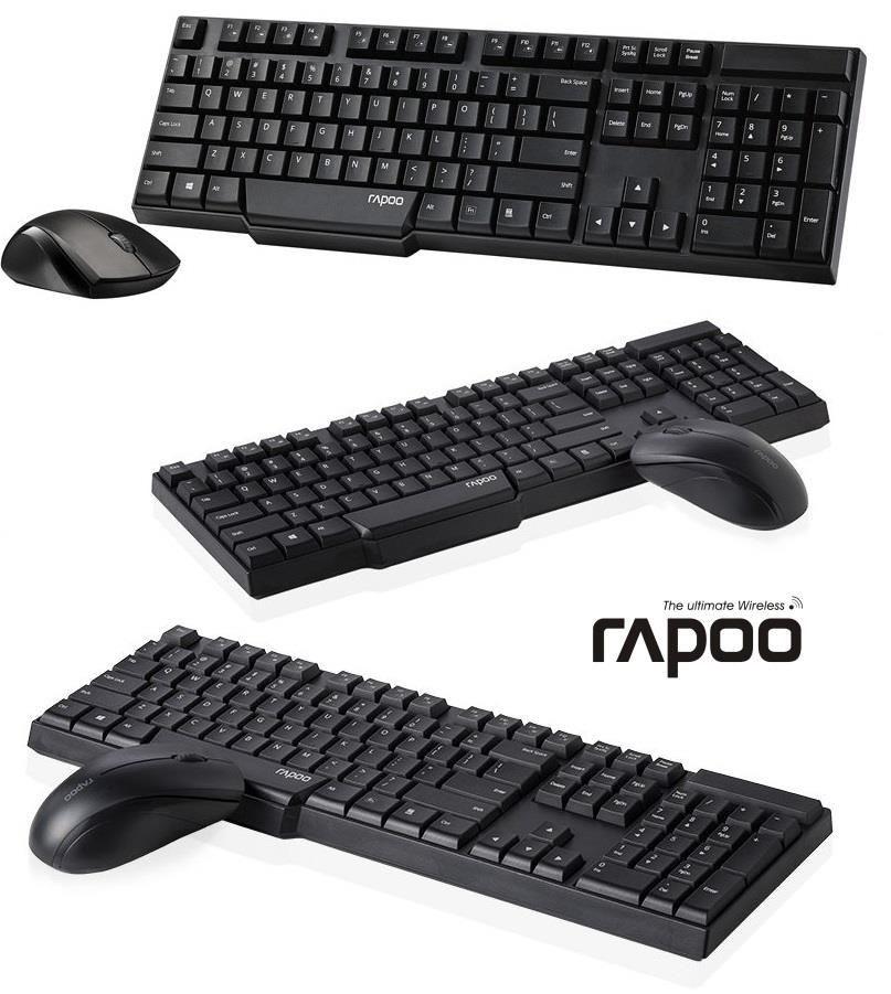 Rapoo Zestaw bezprzewodowy klawiatura + mysz 1830 2,4G wodoodporna czarny