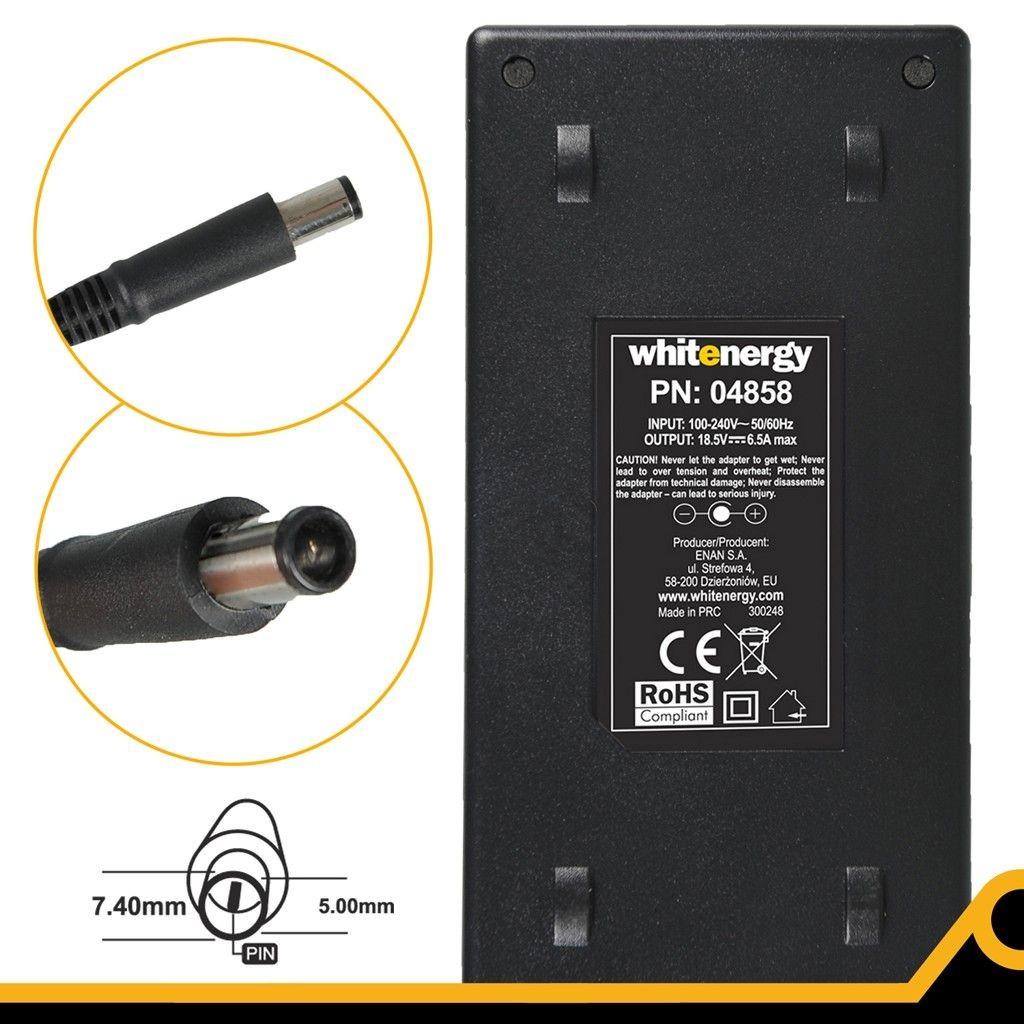 Whitenergy zasilacz 18.5V/6.5A 120W wtyczka 7.4x5.0 + pin HP