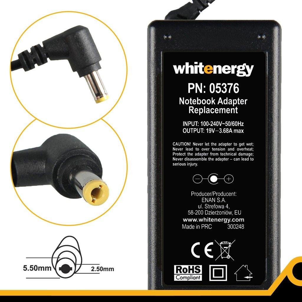 Whitenergy zasilacz 19V/3.68A 70W wtyczka 5.5 x 2.5mm Gateway