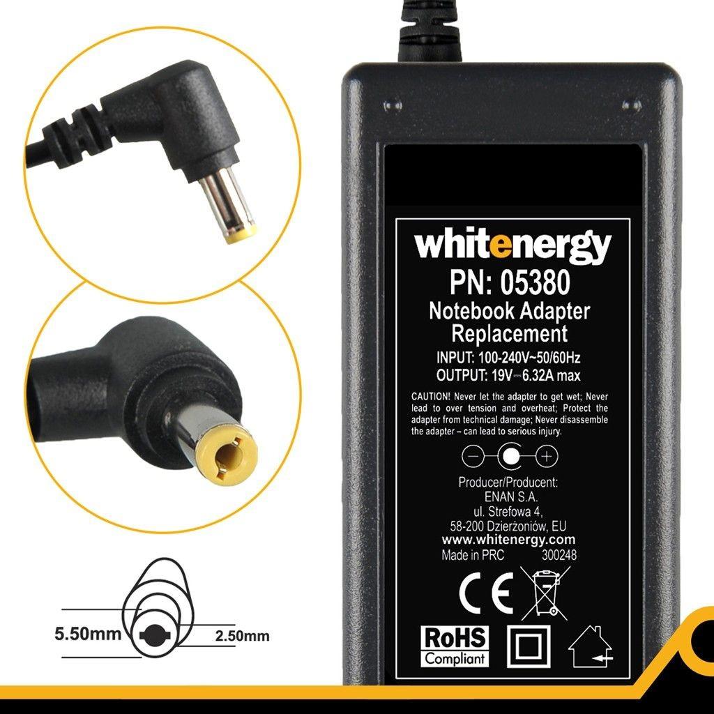 Whitenergy zasilacz 19V/6.32A 120W wtyczka 5.5x2.5mm Toshiba