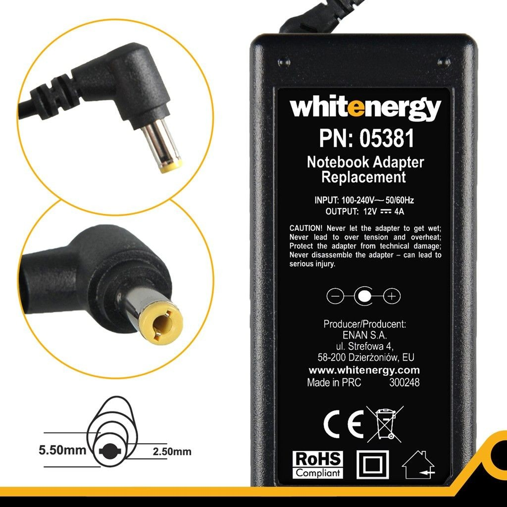 Whitenergy zasilacz do LCD 12V/4A 48W wtyczka 5.5 x 2.5mm