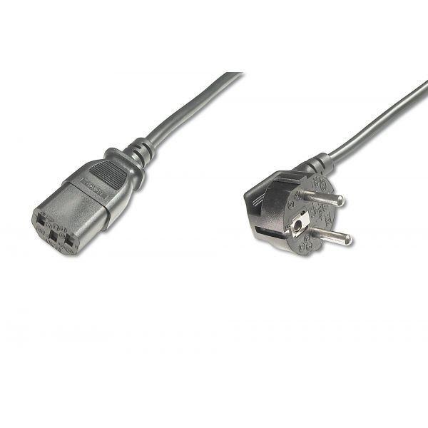 Assmann Kabel połączeniowy zasilający Typ Schuko kątowy/IEC C13, M/Ż czarny 1,8m
