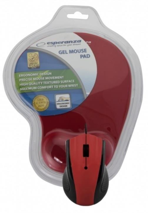 Esperanza Przewodowa Mysz Optyczna EM152R USB | 1200 DPI + PODKŁADKA ŻELOWA