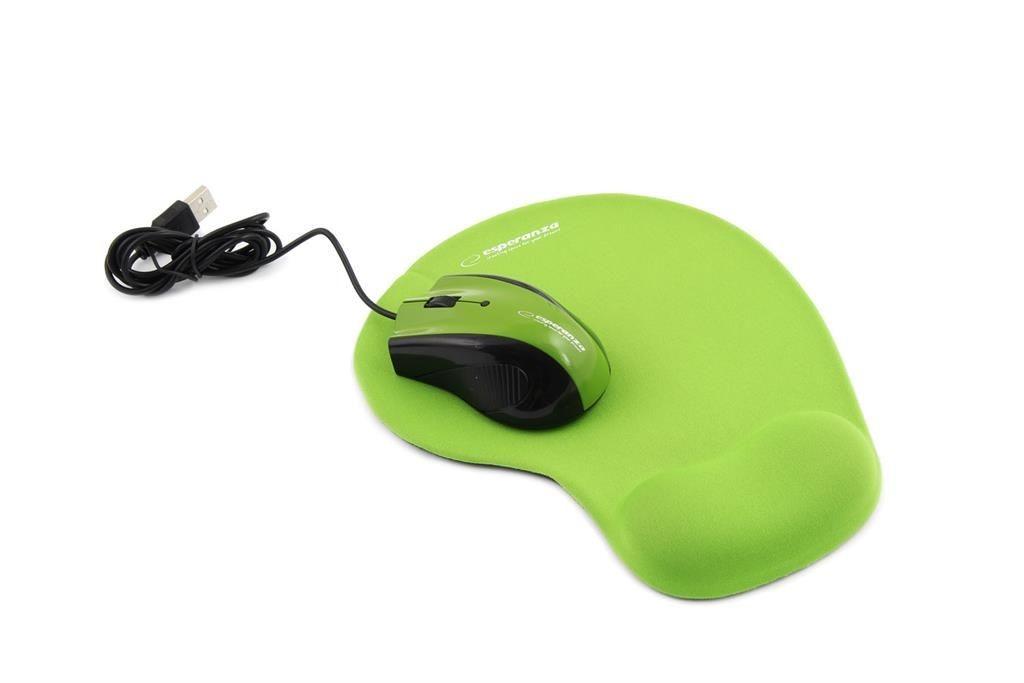 Esperanza Przewodowa Mysz Optyczna EM152G USB | 1200 DPI + PODKŁADKA ŻELOWA