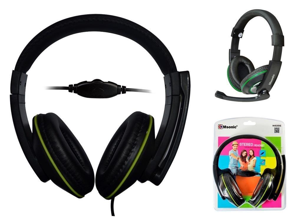 Vakoss MSONIC Słuchawki stereo z mikrofonem,regulacja głośności MH535KE czarno-zielone